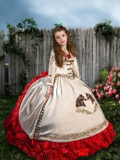 Best White And Red Sleeveless Brush Train Beading and Embroidery and Ruffles Child Pageant Dress