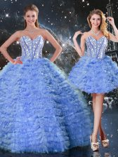 Inexpensive Blue Lace Up Sweet 16 Quinceanera Dress Beading and Ruffled Layers Sleeveless Floor Length