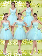 A-line Quinceanera Court of Honor Dress Aqua Blue Sweetheart Tulle Sleeveless Knee Length Lace Up