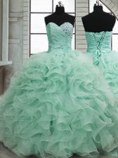 Sexy Apple Green Sleeveless Organza Lace Up Quinceanera Dress for Military Ball and Sweet 16 and Quinceanera