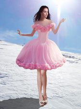 Nice Off The Shoulder Sleeveless Lace Up Homecoming Dress Baby Pink Tulle