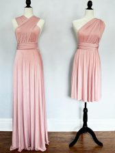Enchanting Pink Chiffon Lace Up Halter Top Sleeveless Floor Length Court Dresses for Sweet 16 Ruching