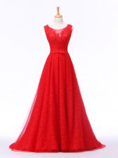 Gorgeous Red A-line Lace and Appliques and Belt Prom Gown Lace Up Tulle Sleeveless