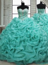 Decent Turquoise Ball Gowns Organza Sweetheart Sleeveless Beading and Pick Ups Lace Up Quinceanera Dress Brush Train