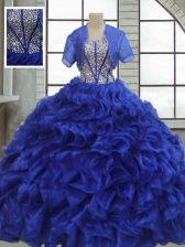 Noble Royal Blue Ball Gowns Ruffles 15th Birthday Dress Lace Up Organza Short Sleeves Floor Length