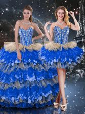 Decent Sweetheart Sleeveless Lace Up Quinceanera Gown Multi-color Organza