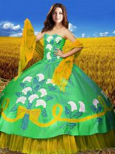 Multi-color Lace Up Sweetheart Embroidery Sweet 16 Dress Taffeta Sleeveless