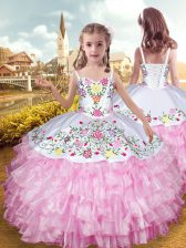 Rose Pink Ball Gowns Organza and Taffeta Straps Sleeveless Embroidery and Ruffled Layers Floor Length Lace Up Kids Pageant Dress