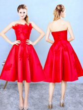 Lovely Red Strapless Lace Up Appliques and Ruffles Court Dresses for Sweet 16 Sleeveless