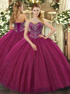 Fuchsia Ball Gowns Tulle Sweetheart Sleeveless Beading Floor Length Lace Up Quince Ball Gowns