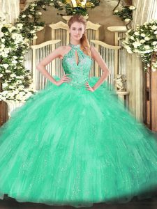Apple Green Organza Lace Up Quinceanera Dresses Sleeveless Floor Length Beading and Ruffles