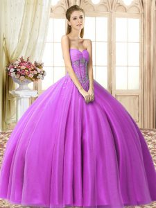 Fashion Sweetheart Sleeveless Lace Up Quinceanera Gowns Lilac Tulle