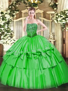 Customized Organza and Taffeta Strapless Sleeveless Lace Up Beading and Ruffled Layers Quinceanera Dresses in Green