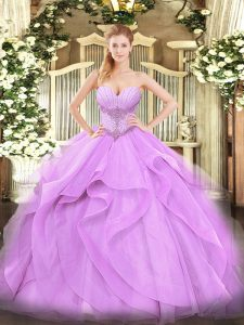 Popular Floor Length Lavender Ball Gown Prom Dress Sweetheart Sleeveless Lace Up