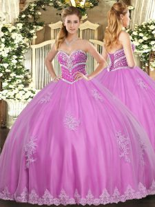 Beautiful Sweetheart Sleeveless Tulle Sweet 16 Quinceanera Dress Beading and Appliques Lace Up