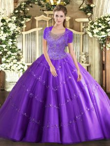 Stunning Lavender Tulle Clasp Handle Scoop Sleeveless Floor Length Sweet 16 Quinceanera Dress Beading and Appliques