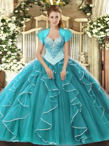 Admirable Teal Sleeveless Floor Length Beading Lace Up 15 Quinceanera Dress