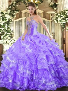 Amazing Lavender Lace Up Sweetheart Beading and Ruffled Layers Sweet 16 Quinceanera Dress Organza Sleeveless