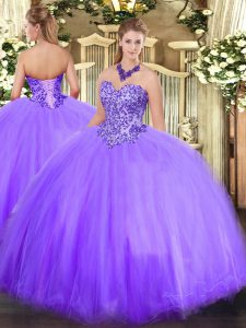 Flare Lavender Sleeveless Tulle Lace Up Quinceanera Gown for Military Ball and Sweet 16 and Quinceanera