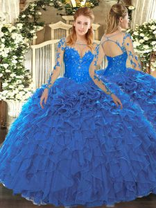 Clearance Lace and Ruffles Sweet 16 Dress Blue Lace Up Long Sleeves Floor Length