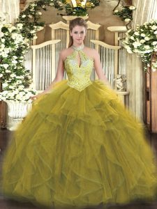 Beading and Ruffles Quince Ball Gowns Olive Green Lace Up Sleeveless Floor Length