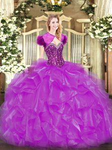 Sleeveless Lace Up Floor Length Beading and Ruffles Quinceanera Gown