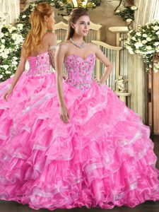 Rose Pink Organza Lace Up Vestidos de Quinceanera Sleeveless Floor Length Embroidery and Ruffled Layers