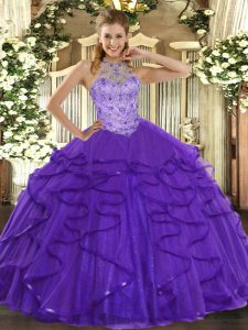 Fashionable Sleeveless Floor Length Beading and Ruffles Lace Up Quinceanera Dresses with Purple