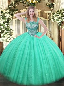 Floor Length Turquoise Quinceanera Gown Scoop Sleeveless Lace Up