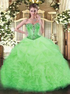 Deluxe Sleeveless Beading and Ruffles and Pick Ups Floor Length Ball Gown Prom Dress