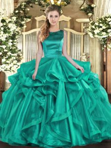 Ruffles Vestidos de Quinceanera Turquoise Lace Up Sleeveless Floor Length