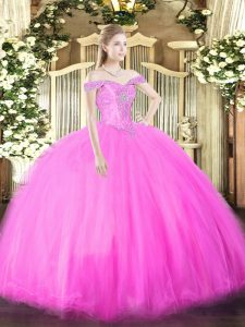 Off The Shoulder Sleeveless Tulle 15th Birthday Dress Beading Lace Up