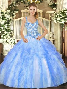 Most Popular Organza Sleeveless Floor Length Quinceanera Gowns and Beading and Ruffles