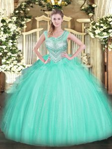 Apple Green Ball Gowns Scoop Sleeveless Tulle Floor Length Lace Up Beading Quinceanera Dress