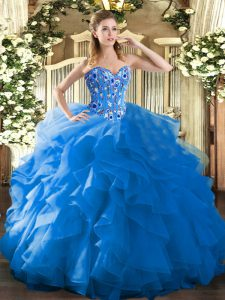 Organza Sleeveless Floor Length Quinceanera Dresses and Embroidery and Ruffles