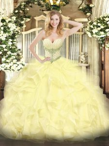 Yellow Sleeveless Floor Length Beading and Ruffles Lace Up Quinceanera Gowns