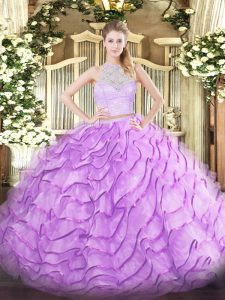 Lilac Tulle Zipper Scoop Sleeveless Ball Gown Prom Dress Brush Train Lace and Ruffles