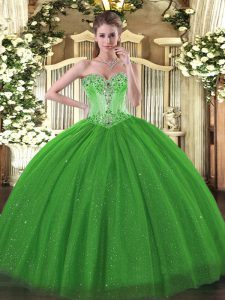 Sweetheart Sleeveless Quinceanera Dresses Floor Length Beading Green Tulle and Sequined