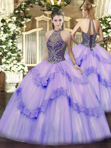 Fashionable Lavender Ball Gowns Beading and Appliques 15th Birthday Dress Lace Up Tulle Sleeveless Floor Length
