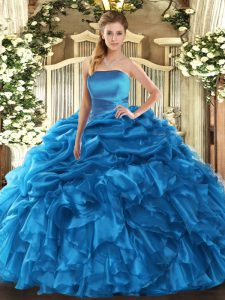 Blue Sleeveless Organza Lace Up Quinceanera Gown for Military Ball and Sweet 16 and Quinceanera