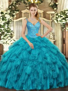 Discount Teal Sweet 16 Dresses Military Ball and Sweet 16 and Quinceanera with Beading and Ruffles V-neck Sleeveless Lace Up