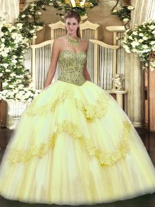Ball Gowns Sweet 16 Dress Light Yellow Sweetheart Tulle Sleeveless Floor Length Lace Up