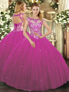 Fuchsia Scoop Neckline Beading and Appliques Ball Gown Prom Dress Cap Sleeves Lace Up