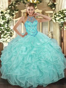 Exquisite Organza Halter Top Sleeveless Lace Up Beading and Ruffles 15 Quinceanera Dress in Apple Green