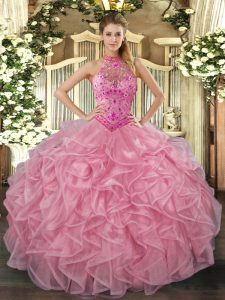 Floor Length Ball Gowns Sleeveless Baby Pink 15 Quinceanera Dress Lace Up