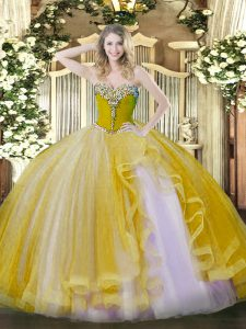 Gold Ball Gowns Tulle Sweetheart Sleeveless Beading and Ruffles Floor Length Lace Up 15th Birthday Dress