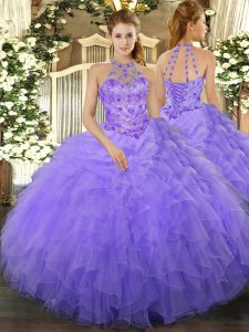 Amazing Beading and Ruffles 15th Birthday Dress Lavender Lace Up Sleeveless Floor Length