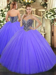 Sweetheart Sleeveless Lace Up 15 Quinceanera Dress Lavender Tulle