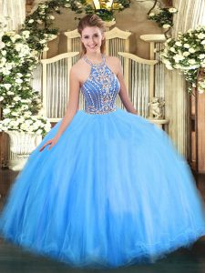 Superior Sleeveless Beading Lace Up Sweet 16 Quinceanera Dress