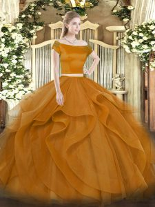Inexpensive Floor Length Zipper Sweet 16 Dress Brown for Military Ball and Sweet 16 and Quinceanera with Appliques and Ruffles